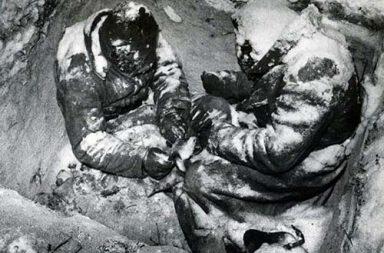Two Soviet infantrymen frozen to death in their foxhole, 1940