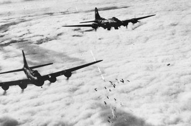 Boeing B-17F bombing through clouds over Bremen, 1943