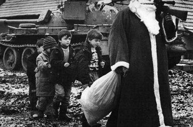 Santa Claus with the children during Croatian War, Vukovar, 1992