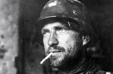 A German soldier with a badge on his chest in Stalingrad, 1942