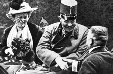 Archduke Franz Ferdinand with his wife on the day they were assassinated by Gavrilo Princip, 28 June 1914