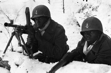Black soldiers fighting in France, 1944