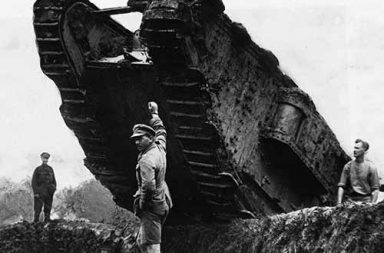 British tanks maneuvering trenches during the Battle of Cambrai, the first use of tanks in mass, 1917