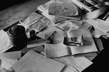 Einstein's desk photographed a day after his death, 1955