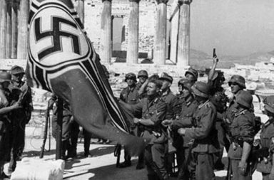 German troops raising the swastika over the Acropolis, 1941