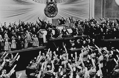 Ovation for Hitler in the Kroll Opera House after announcing the successful Anschluss, 1938