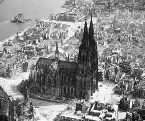 The cologne cathedral stands tall amidst the ruins of the for How many homes were destroyed in germany in ww2