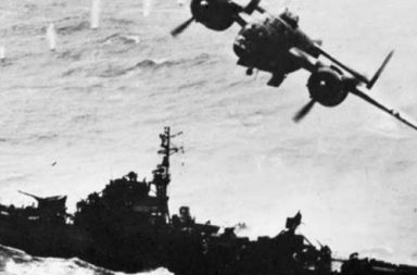 B-25 Mitchell skip-bombs a Japanese Kaibokan escort ship, 1945