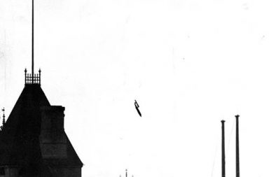 """A V-1, """"buzz bomb"""", plunging toward central London, 1945."""