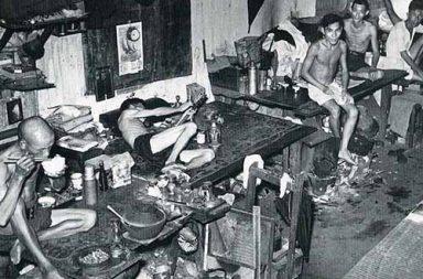 Opium den in Singapore, 1941
