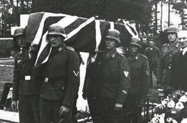 Two RAF airmen are buried with full military honors by occupying German soldiers, Channel Islands, 1943