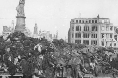 A pile of bodies awaits cremation after the bombing of Dresden, 1945