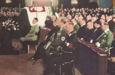 Adolf Hitler attending memorial service of the Polish First Marshall Jozef Pilsudski in Berlin, 1935