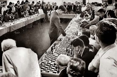 Bobby Fischer, playing 50 opponents simultaneously at his Hollywood hotel on 1964