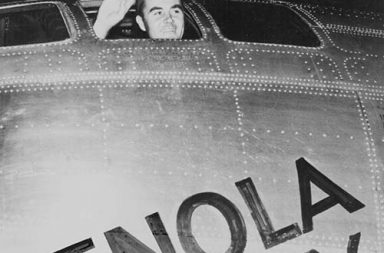 Captain Paul Tibbets in the Enola Gay minutes before takeoff to drop the first atomic bomb on Hiroshima, 1945