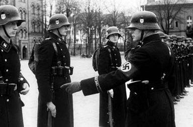 Hitler's personal bodyguards undergoing a drill inspection in Berlin, 1938