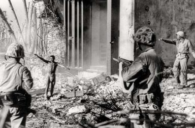 Japanese soldier surrendering to US Marines, Marshall Islands, 1944
