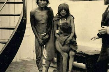 Selknam natives en route to Europe for being exhibited as animals in Human Zoos, 1899