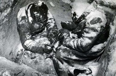 Two Soviet infantrymen frozen to death in their foxhole, 1940