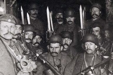 German soldiers in a dug out waiting for an enemy artillery barrage to lift, 1917