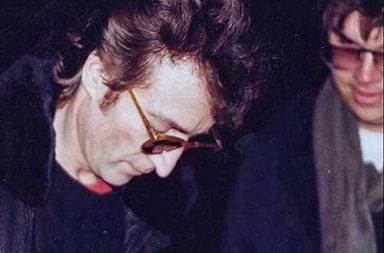 John Lennon signs an autograph for Mark Chapman - his murderer, 1980