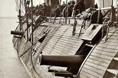 Federal ironclad USS Galena showing some battle damage, 1862