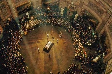 John F. Kennedy's coffin lies in state in the Capitol Building, 1963