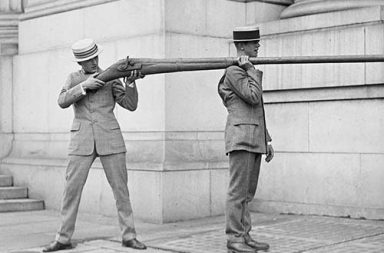 A Punt Gun, used for duck hunting but were banned because they depleted stocks of wild fowl, 1910-1920