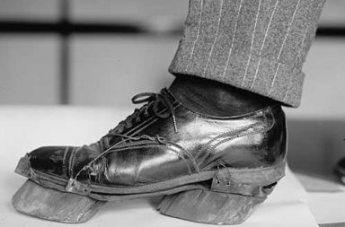 Cow shoes used by Moonshiners in the Prohibition days to disguise their footprints, 1924