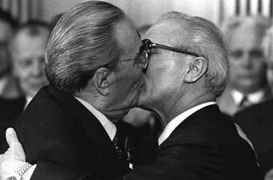 The Socialist Fraternal Kiss between Leonid Brezhnev and Erich Honecker, 1979