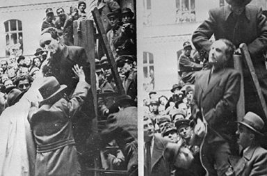 Hungarian Prime Minister Ferenc Szalasi is given the last rites before being hanged as a collaborator in Budapest, 1946