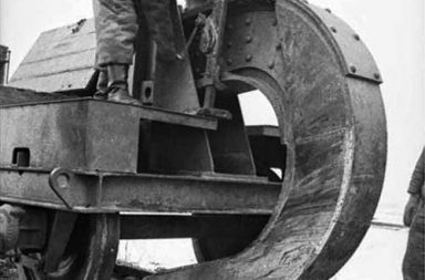 German troops use a Schwellenpflug to destroy rail tracks while withdrawing from Soviet territory, 1944