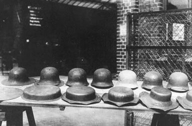 Stahlhelm, the stages of the helmet-making process of Stahlhelms for the Imperial German Army, 1916