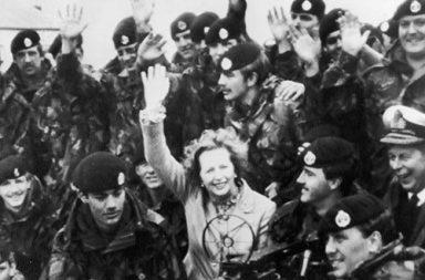 Margaret Thatcher in Falkland Islands after Argentina's surrender, 1983
