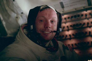 Neil Armstrong photographed just minutes after becoming the first man to walk on the Moon, 1969