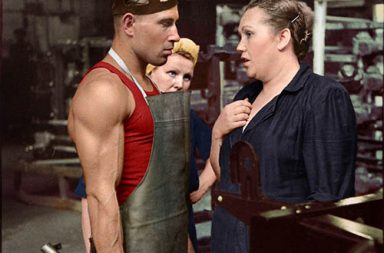 Worker and supervisor at a car factory, Moscow, 1954