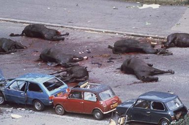 Seven horses of the Queen's Household Cavalry lie dead or dying after the IRA detonated a nail bomb, 1982