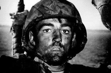 A U.S. Marine exhibits the thousand-yard stare after two days of constant fighting in the Battle of Eniwetok.