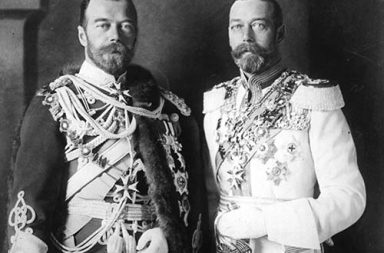 King George V and his physically similar cousin Tsar Nicholas II of Russia in German military uniforms in Berlin, 1913