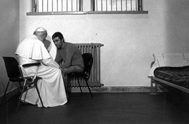 Pope John Paul II meets with Mehmet Agca, the man who attempted to assassinate him, 1983