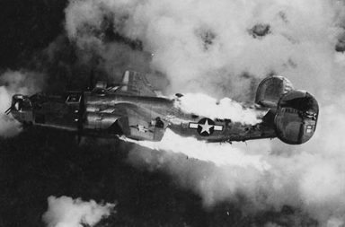 B-24 Liberator in flames after being attacked over Austria, 1944