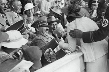 Hitler reacts to kiss from excited American woman at the Berlin Olympics, 1936