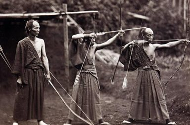 Three archers, Japan, 1860s