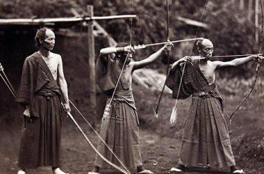 Three archers, Japan, 1860s