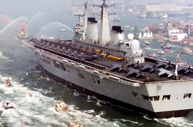 HMS Invincible returns home following the Falklands Conflict, 1982