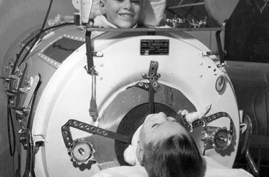 Iron lungs for polio victims, 1930s-1950s