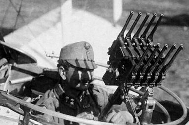 Austro-Hungarian aircraft gunner with an arranged anti-aircraft gun made out from Mausers C-96, 1917