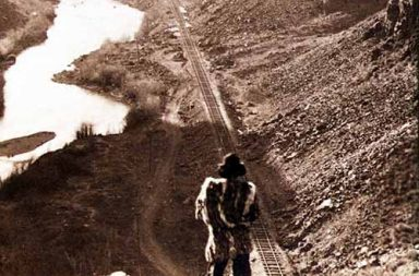 A native American overlooks the newly completed transcontinental railroad in Sacramento, c. 1867
