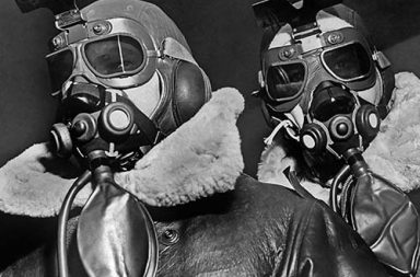 Pilots of American 8th Bomber Command wearing high altitude clothes, oxygen masks and flight goggles, 1942