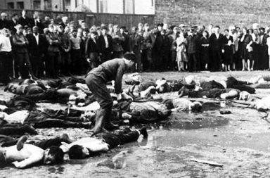 The Kovno Garage Massacre - Lithuanian nationalists clubbing Jewish Lithuanians to death, 1941
